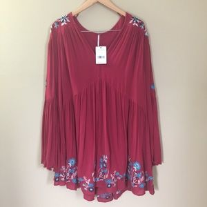 Free People | Boho Embroidered Red Floral Tunic